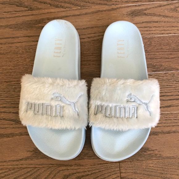 sale retailer 29b35 2c716 Fenty x Puma Baby Blue Faux Fur Slides
